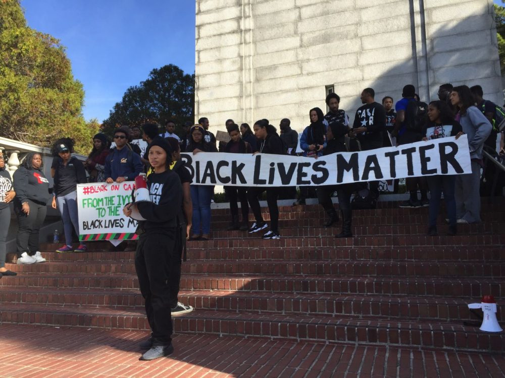 """One term keeps taking center stage in the coverage of campus protests around the country, like this one at the University of California-Berkeley. It's the phrase """"safe spaces."""" (Laura Klivans/Youth Radio)"""