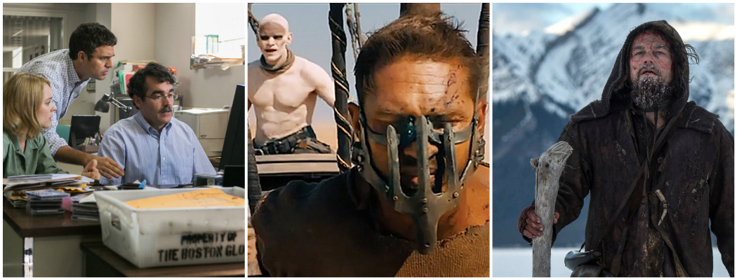 "Scenes from ""Spotlight,"" ""Mad Max: Fury Road"" and ""The Revenant."" (Courtesy Open Road Films, Warner Bros. and 20th Century Fox)"