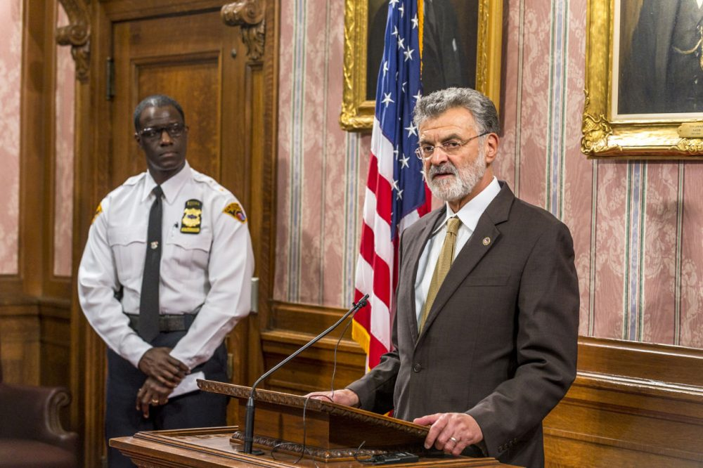 Cleveland Mayor Frank Jackson speaks to reporters in the Mayor's Conference Room at City Hall on Decmeber 28, 2015 in Cleveland, Ohio. Earlier that day a grand jury declined to bring charges against either of the two police officers involved in the fatal November 2014 shooting of Tamir Rice, a 12-year-old boy who was playing with a toy weapon at Cudell Recreation Center. (Angelo Merendino/Getty Images)