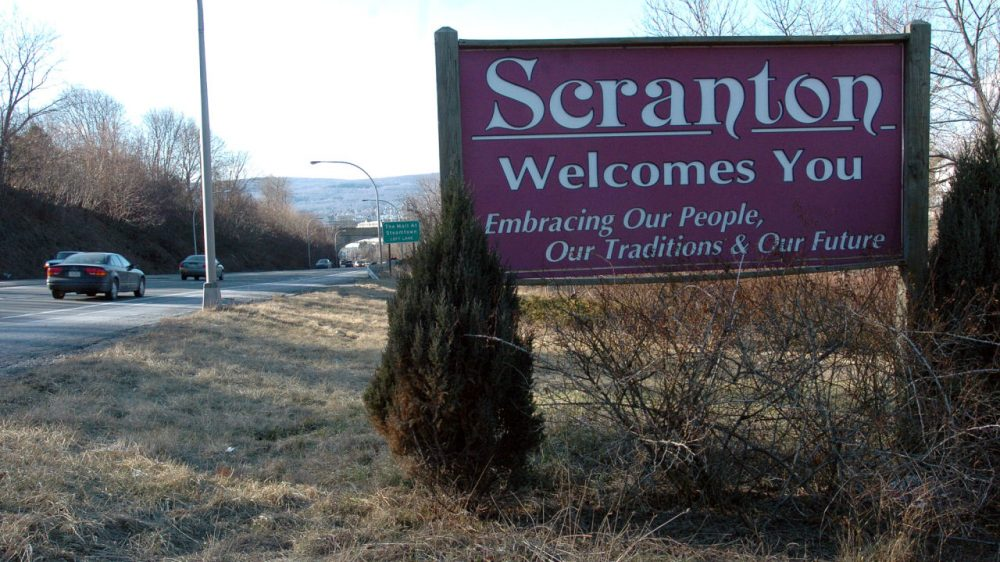"A sign welcoming visitors to Scranton, Pa., where the NBC series ""The Office"" is set. (Ed Koskey Jr./AP)"
