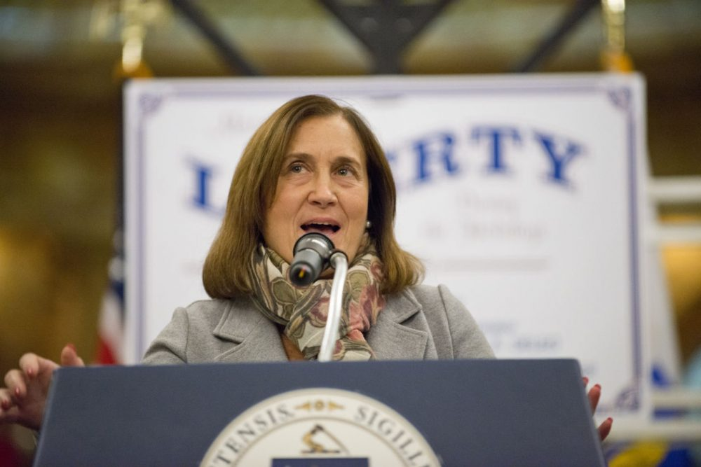 State Treasurer Deborah Goldberg, a Democrat, is seen at a State House menorah lighting last week. (Courtesy of Joanne DeCaro/Governor's Office)