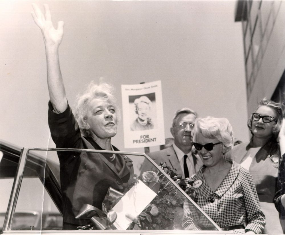 Former U.S. Sen. Margaret Chase Smith, R-Maine, arrives at the Republican National Convention in San Francisco in this July 1964 file photo. (AP Photo/Smith Library)