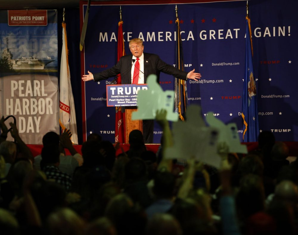 Republican presidential candidate Donald Trump speaks during a rally coinciding with Pearl Harbor Day on Monday, Dec. 7, 2015. (Mic Smith/AP)