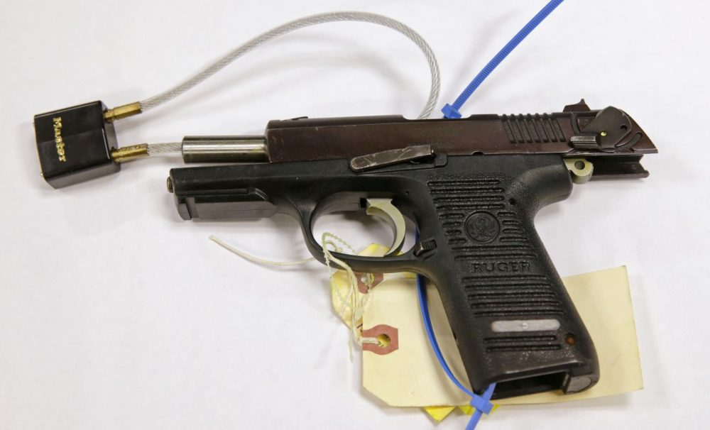 This Ruger pistol was presented as evidence during the trial of Boston Marathon bomber Dzhokhar Tsarnaev. Authorities say Stephen Silva loaned the gun to Tsarnaev, and that it was used to kill MIT police officer Sean Collier. (Charles Krupa/AP)