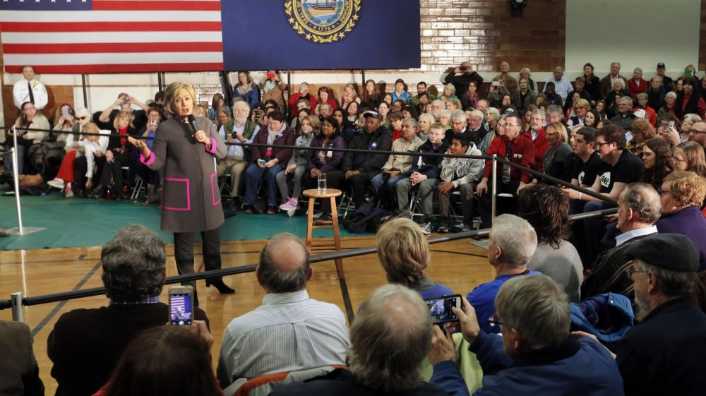 Democratic presidential candidate Hillary Clinton speaks to several hundred area residents during a town hall style meeting in the gymnasium at the McConnell Center on Thursday in Dover, New Hampshire. (Jim Cole/AP)
