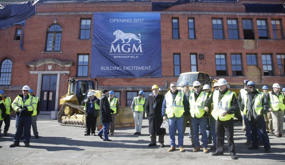 Constructions workers gathered to watch a ground breaking ceremony for the MGM casino in Springfield earlier this year. (Stephan Savoia/AP)