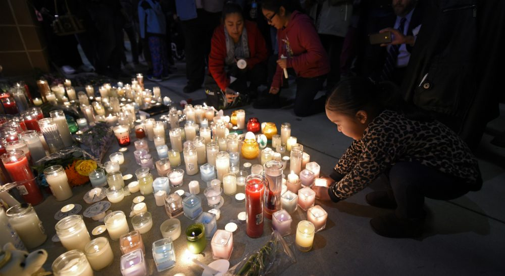 "Susan Reed: ""Proffering peace requires stepping away instead of provoking, contemplating instead of venting, and testing fears against reality before reengaging."" Pictured: Trinity Cuellar, 2, puts a candle down at a candlelight vigil at San Manuel Stadium, Thursday, Dec. 3, 2015, in San Bernardino, Calif. for multiple victims of a shooting that took place at a holiday banquet on Wednesday. (Mark J. Terrill/AP)"
