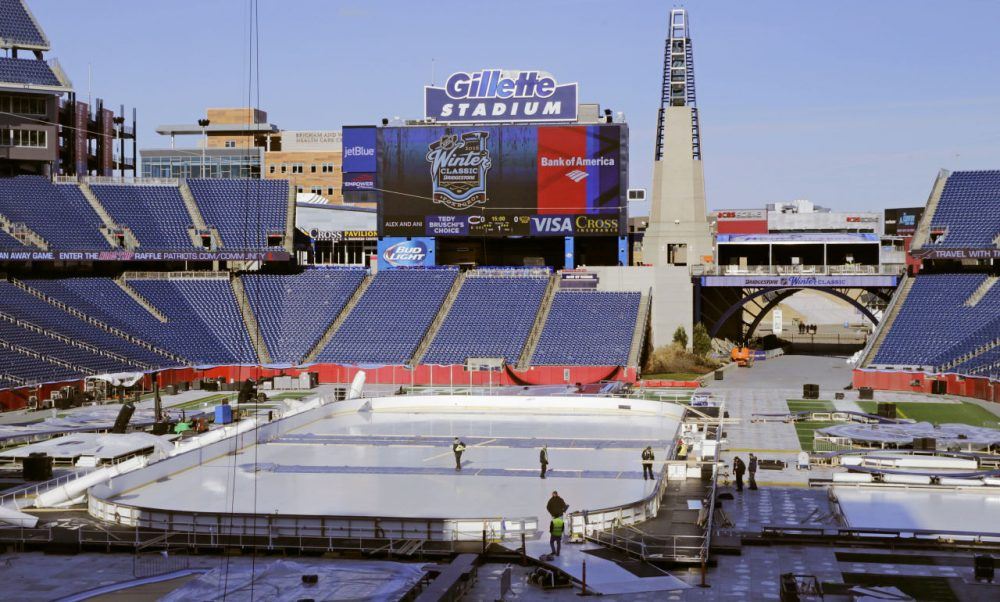 Gillette Stadium, home of the Patriots, is ready to go for this weekend's NHL Winter Classic. (Charles Krupa/AP)