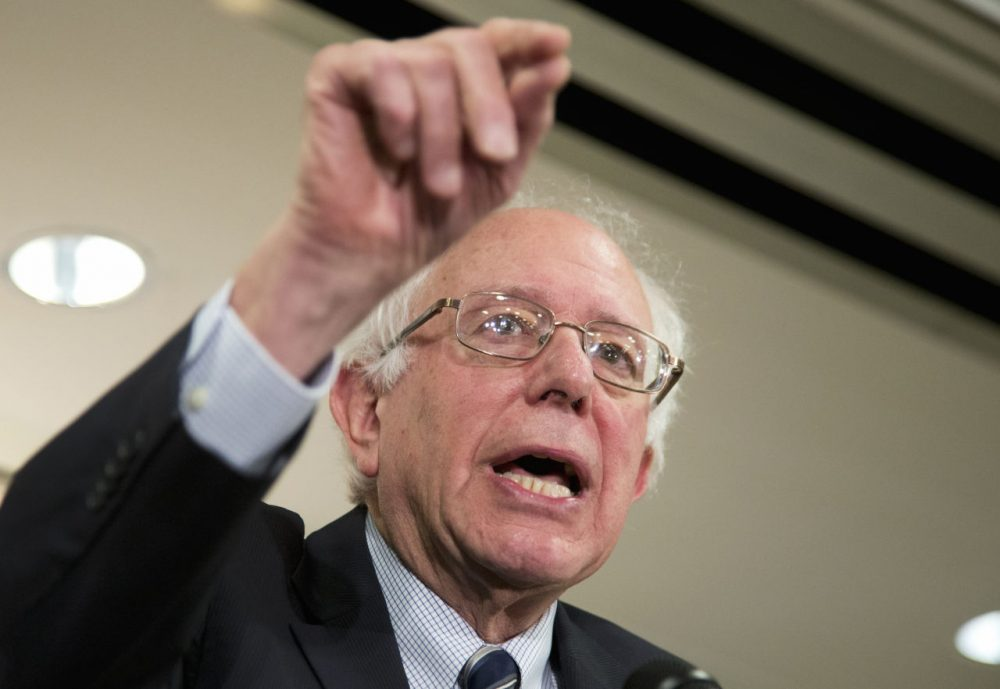 Democratic presidential candidate Bernie Sanders speaks to reporters and members of the Communication Workers of America, following the union's endorsement of Sanders on Thursday.   (Manuel Balce Ceneta/AP)