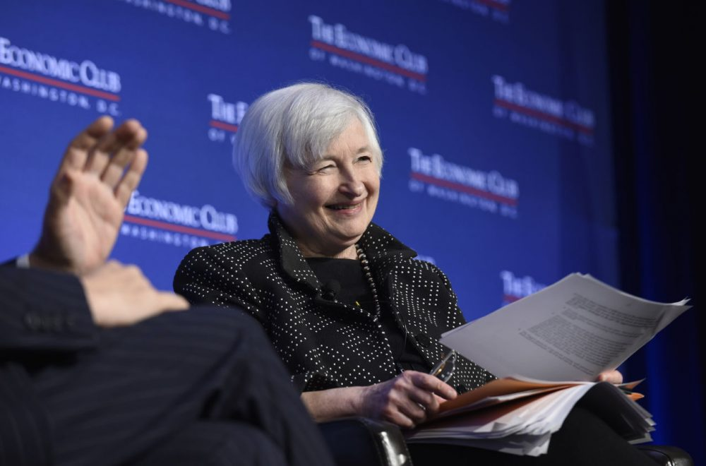 Federal Reserve Chair Janet Yellen answers a question from President of the Economic Club of Washington David Rubinstein while speaking at the Economics Club of Washington in Washington, Wednesday, Dec. 2, 2015. (AP Photo/Susan Walsh)