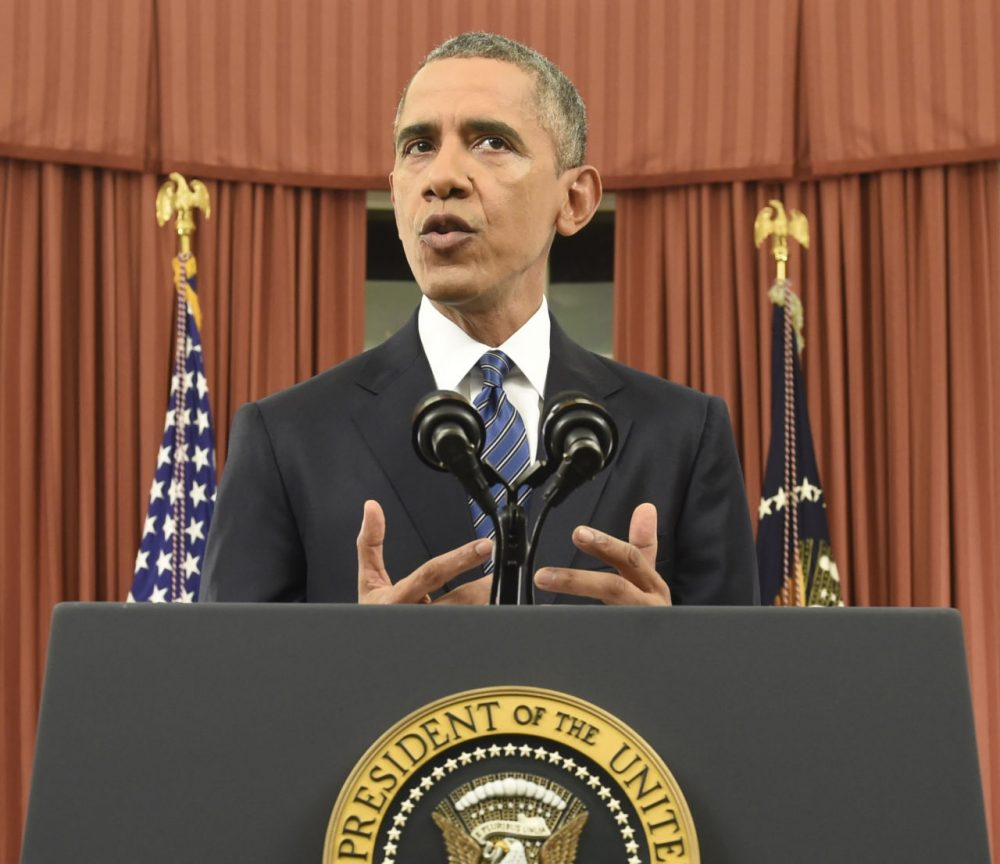 President Obama addresses the nation from the Oval Office Sunday night. (Saul Loeb/pool photo via AP)