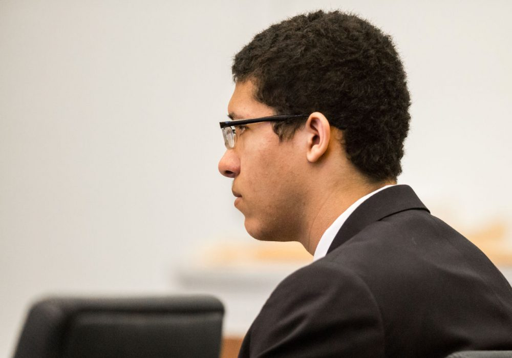 Phillip Chism listens to testimony during his trial at Essex Superior Court in Salem, Mass. on Monday, Dec. 7, 2015. (Aram Boghosian/The Boston Globe/Pool)