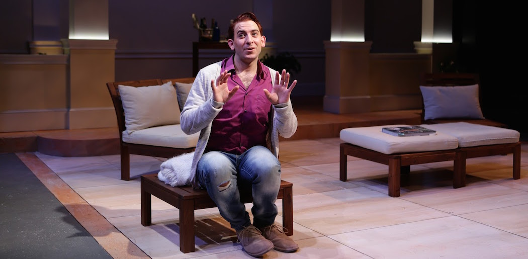 """Phil Tayler in """"Buyer and Cellar"""" at Lyric Stage Co. (Courtesy Mark S. Howard/Lyric Stage Co.)"""