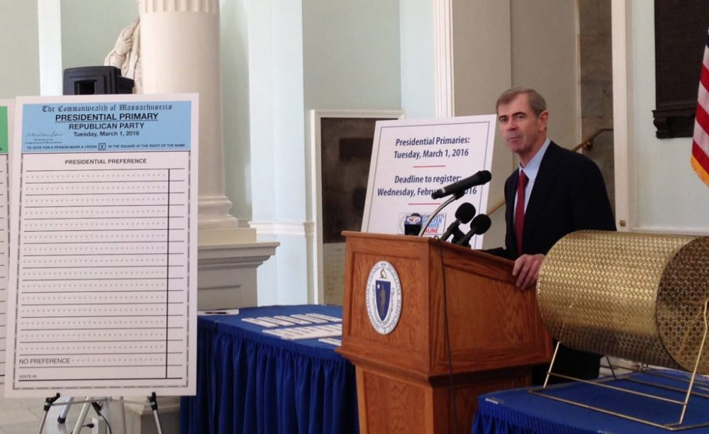 Secretary of State William Galvin picks the ballot order. (Courtesy of Galvin's office)
