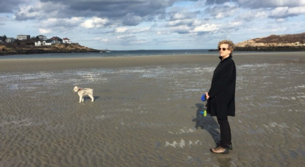 The author pictured with Buddy at Good Harbor Beach in Gloucester, Mass., winter 2013. (Courtesy)