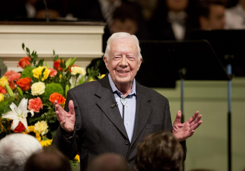 Former President Jimmy Carter at Maranatha Baptist Church, where he announced on Sunday that his recent MRI was clear of melanoma lesions. (AP Photo/David Goldman)