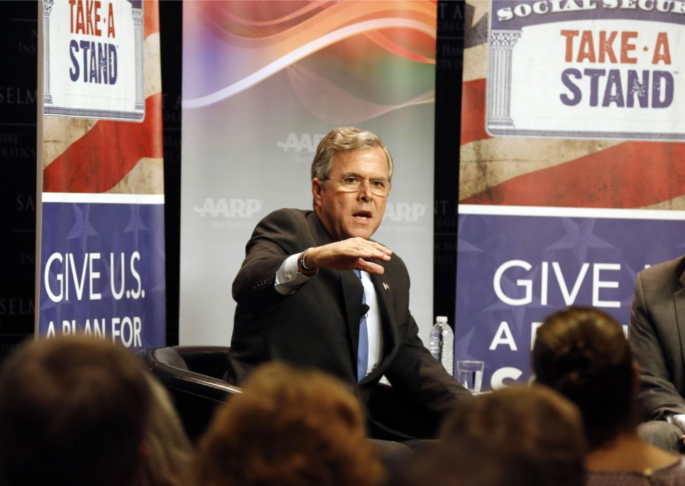 Republican presidential candidate Jeb Bush speaks during a campaign stop in Manchester, N.H. Tuesday. (AP Photo/Jim Cole)