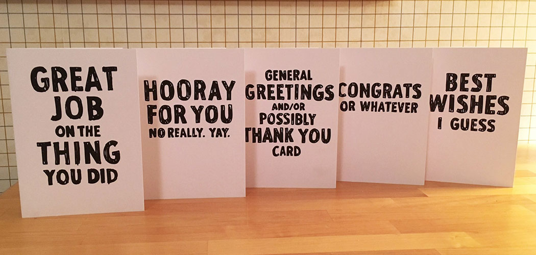 "Tim McCool's set of ""General Greetings and/or Possibly Thank You Cards."" (Courtesy of Tim McCool)"