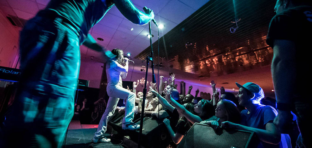 Andrew W.K. performs at JJ Gonson's Once at Cuisine en Locale restaurant in Somerville. (Ivan Singer)
