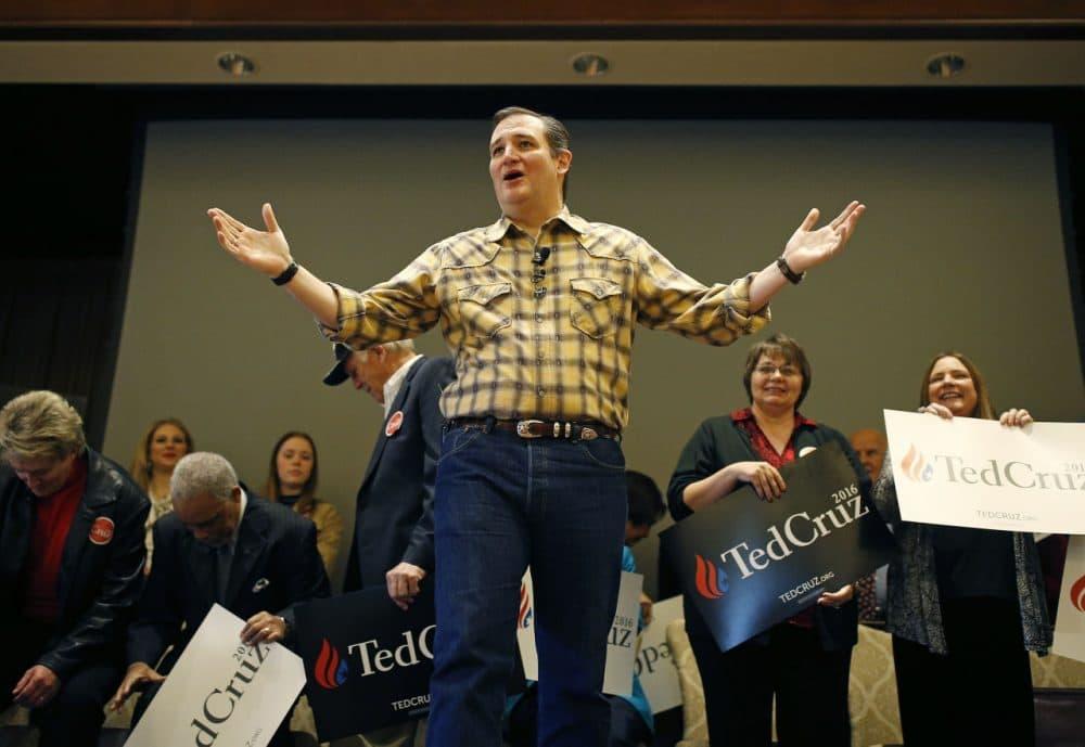 Republican presidential candidate Sen. Ted Cruz speaks at a rally Thursday in Las Vegas. (AP Photo/John Locher)