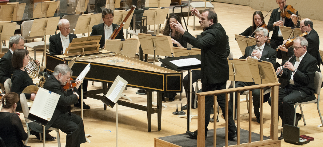 François-Xavier Roth at an earlier concert leading the BSO and soloists in J.S. Bach's Brandenburg Concerto No. 1. (Courtesy Stu Rosner/BSO)
