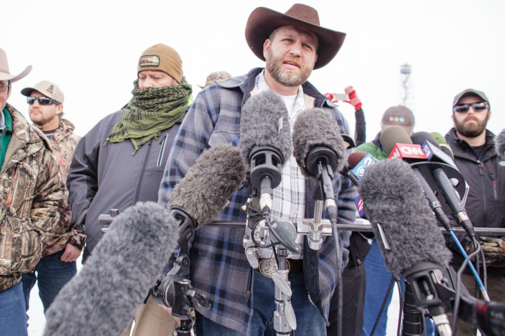 Ammon Bundy speaks to the media as the leader of a group of armed anti-government protesters who have taken over the Malheur National Wildlife Refuge Headquarters near Burns, Oregon, January 4, 2016. (Rob Kerr/AFP/Getty Images)