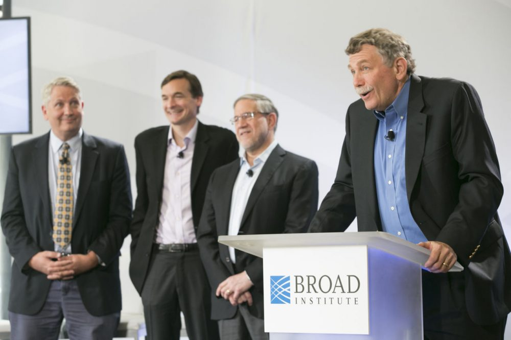 In 2014, Broad Institute announced a $650 million commitment to its Stanley Center for Psychiatric Research, aiming to galvanize mental illness research. (R-L) Eric Lander, Steve Hyman, Steve McCarroll and Ken Duckworth. (Feature Photo Service/David Fox for Broad Institute)
