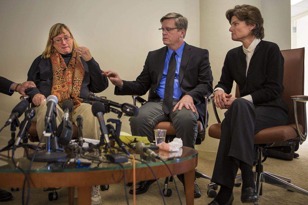 Three former students of St. George's, a private Episcopalian boarding school in Rhode Island, were in Boston Tuesday to discuss the sexual abuse they say they experienced at the school. From right to left: Katie Wales, Harry Groome and Anne Scott. (Jesse Costa/WBUR)