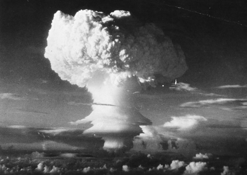 A characteristic mushroom-shaped cloud begins formation after the first H-Bomb explosion (U.S.) at Eniwetok Atoll in the Pacific, on Nov. 6 1952. (Three Lions/Getty Images)