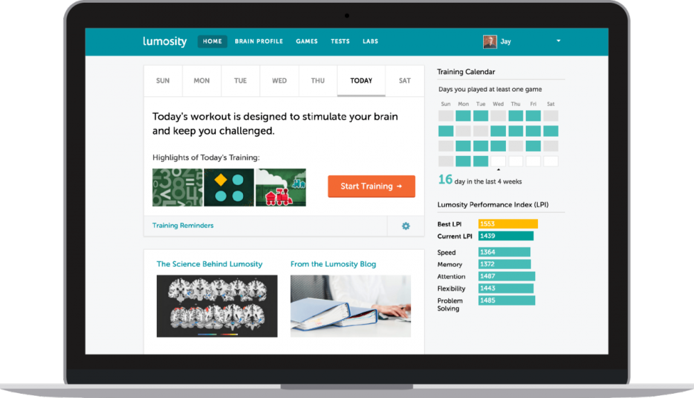The Lumosity interface is pictured in this image from lumosity.com.