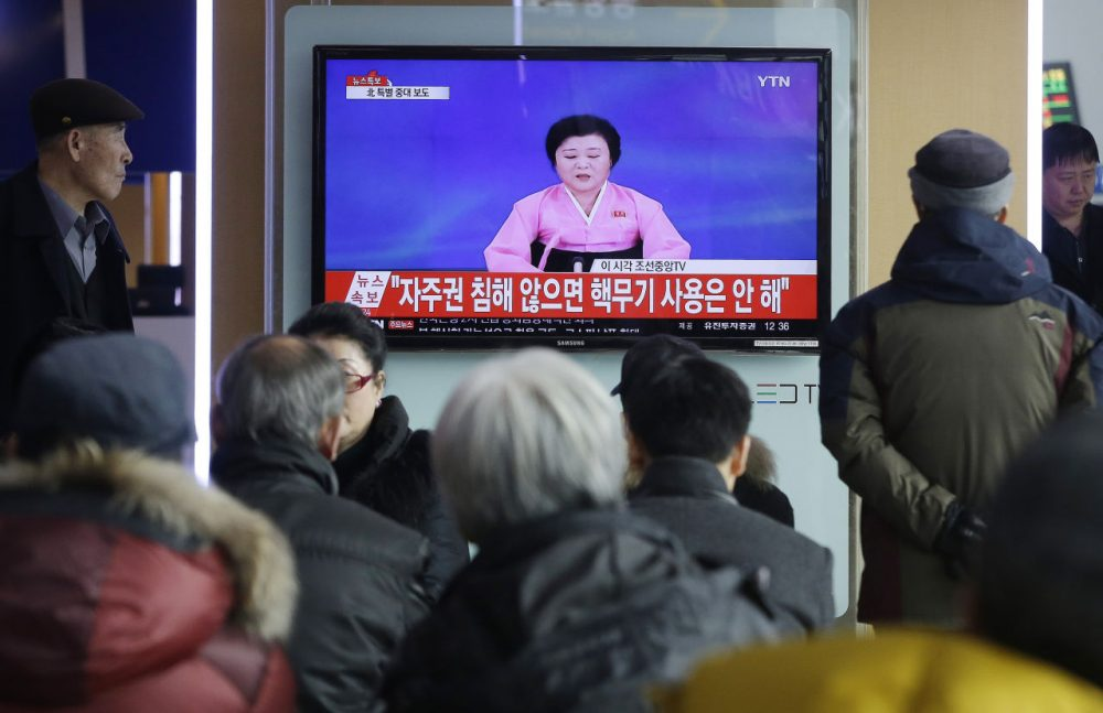 "People watch a TV news program showing North Korea's announcement, at the Seoul Railway Station in Seoul, South Korea, Wednesday, Jan. 6, 2016. North Korea said Wednesday it had conducted a hydrogen bomb test, a defiant and surprising move that, if confirmed, would put Pyongyang a big step closer toward improving its still-limited nuclear arsenal. The letters read ""Will not use nuclear weapon if autonomy secured.""  (Ahn Young-joon/AP)"