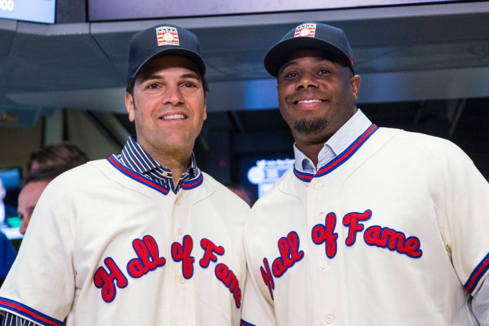 Ken Griffey Jr. and Mike Piazza are the newest members of the Baseball Hall of Fame. Griffey Jr. won the vote with 99.3% of all ballots cast. (Andrew Burton/Getty Images)