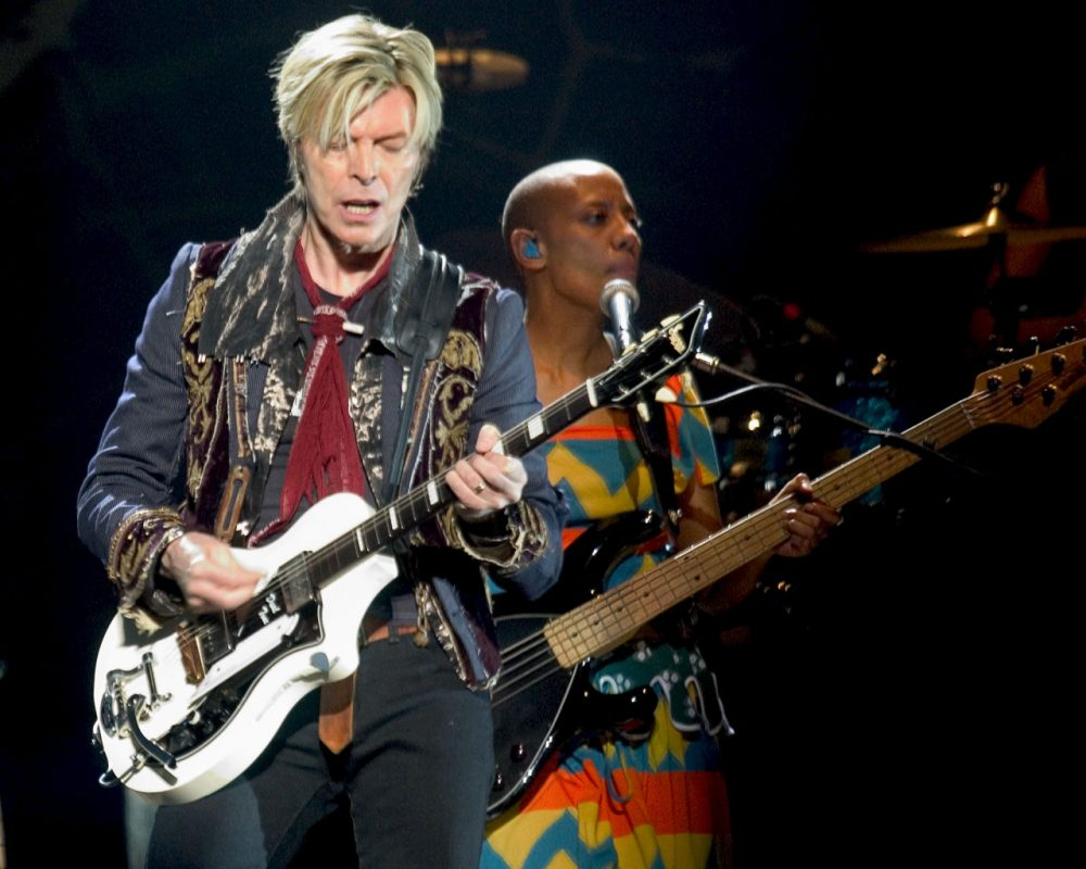 Bowie performs at the Fleet Center in Boston on March 30, 2004. (Robert E. Klein/AP)