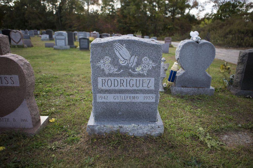 The grave of Guillermo Rodriguez in Melrose Cemetery in Brockton (Jesse Costa/WBUR)