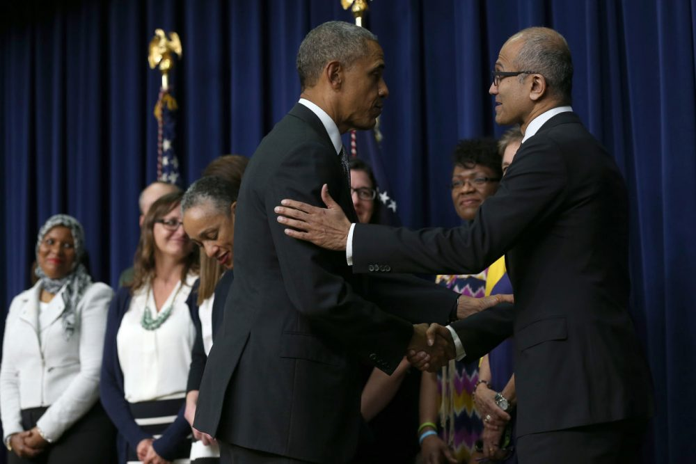 Satya Nadella (R), CEO of Microsoft, shakes hands with U.S. President Barack Obama after Obama spoke at a Champions of Change event at the Eisenhower Executive Office Building April 16, 2015 in Washington, DC. (Win McNamee/Getty Images)