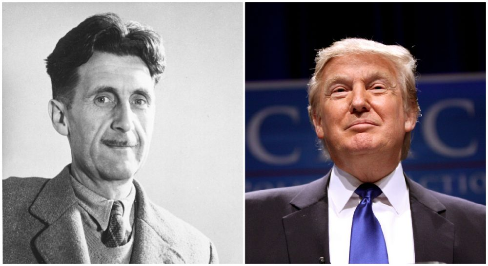 A closer look at the collected works of George Orwell helpsexplain the phenomenon of Donald Trump. (both photos AP)