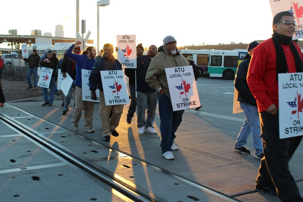 In Phoenix, 35 major city bus routes are impacted by a current drivers' strike. (Carrie Jung/KJZZ)