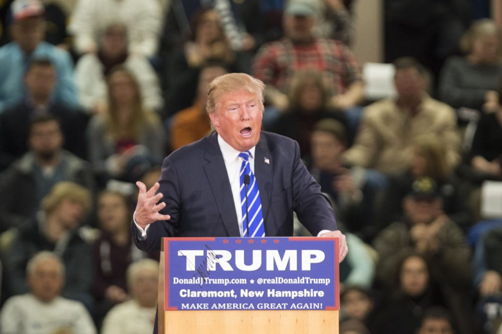 Republican presidential frontrunner Donald Trump speaks at Stevens High School on January 5, 2016 in Claremont, New Hampshire. The campaign rally filled the school gym with supporters. (Scott Eisen/Getty Images)