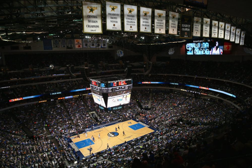 A general view of play between the Oklahoma City Thunder and the Dallas Mavericks at American Airlines Center on March 16, 2015 in Dallas, Texas.  (Ronald Martinez/Getty Images)