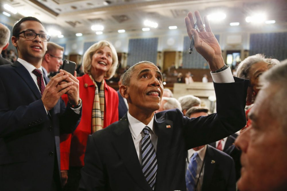 President Barack Obama waves as he walks back up the aisle at conclusion of his State of the Union address to a joint session of Congress on Capitol Hill January 12, 2016 in Washington, D.C.  In his final State of the Union, President Obama reflected on the past seven years in office and spoke on topics including climate change, gun control, immigration and income inequality. (Evan Vucci/Getty Images)