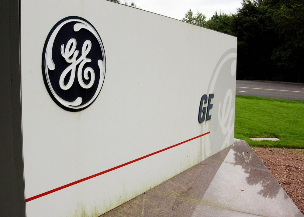 A sign outside the corporate headquarters of the General Electric company is pictured on September 18, 2003, in Fairfield, Connecticut. (Stan Honda/AFP/Getty Images)