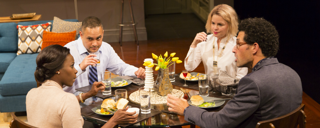 """Shrine Babb as Jory, Rajesh Bose as Amir, Nicole Lowrance as Emily and Benim Foster as Isaac in """"Disgraced"""" at the Huntington Theatre. (Courtesy T. Charles Erickson/Huntington Theatre Company)"""