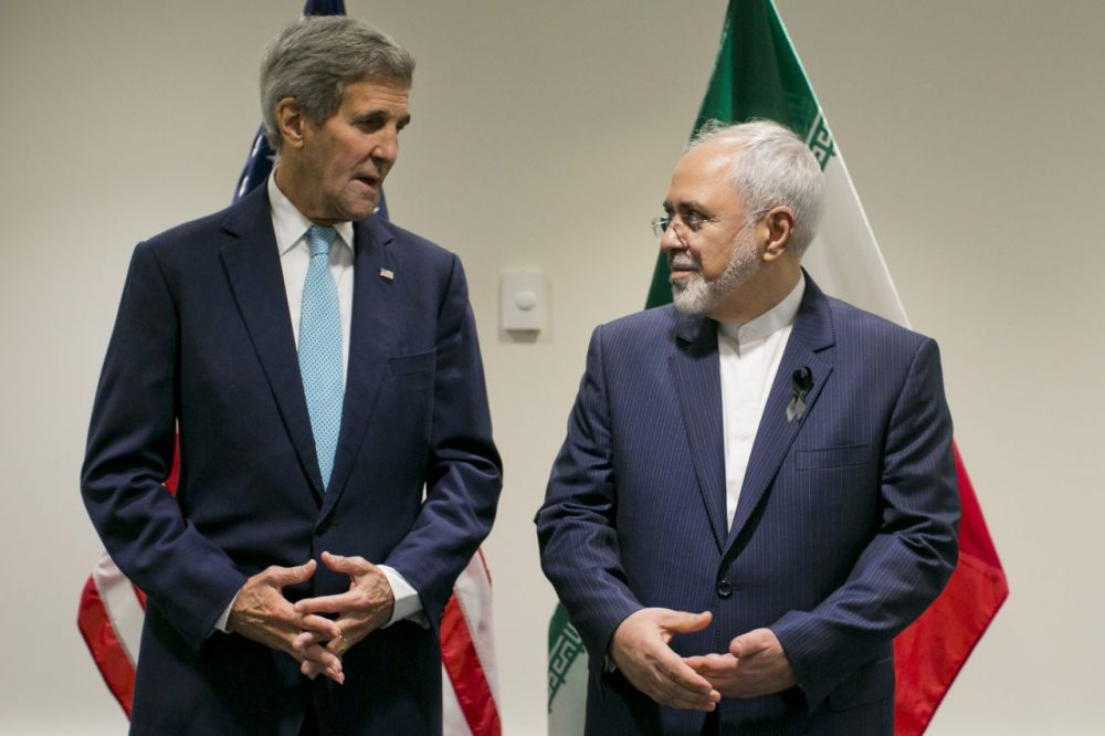 United States Secretary of State John Kerry poses with Foreign Affairs Minister of Iran Javad Zarif during a bilateral talk at the United Nations headquarters on September 26, 2015, at the United Nations in New York. (Dominick Reuter/AFP/Getty Images)