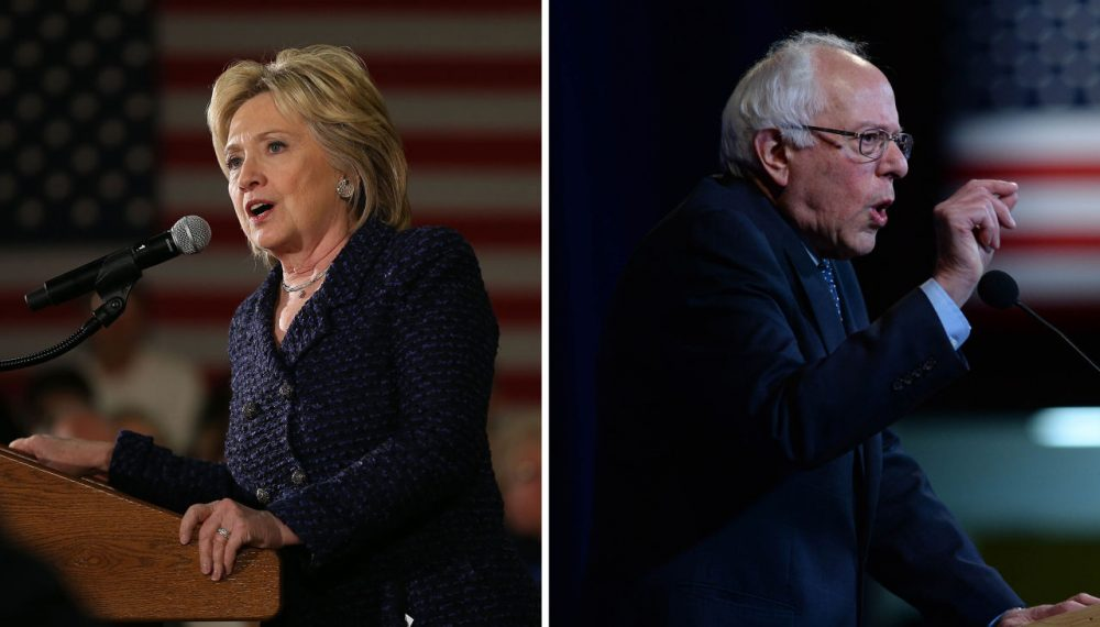 Left: Hillary Clinton speaks in Waterloo, Iowa on January 11, 2016. (Joe Raedle/Getty Images) Right: Bernie Sanders speaks in Manchester, New Hampshire on November 29, 2015. (Darren McCollester/Getty Images)