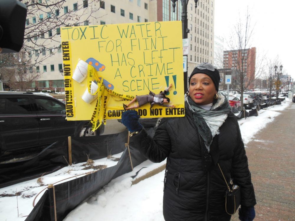 Tonya Burns attends a rally in Lansing, Michigan on January 14. 2016. She wants to see Governor Snyder arrested for criminal negligence. (Lindsey Smith)