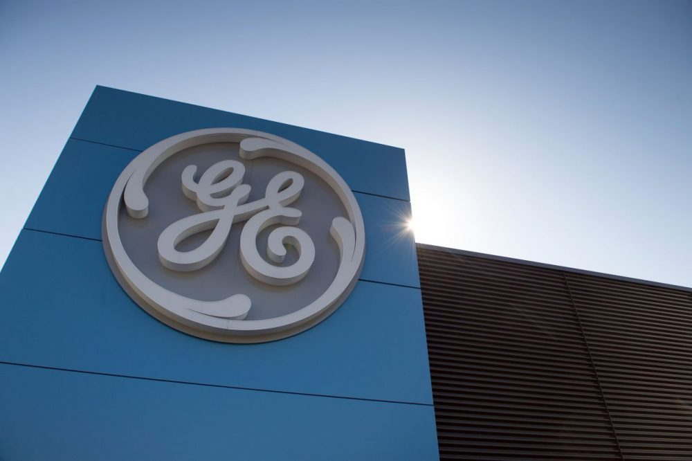 The logo of U.S. giant General Electric is shown in Belfort on June 23, 2014.  (Sebastien Bozon/AFP/Getty Images)