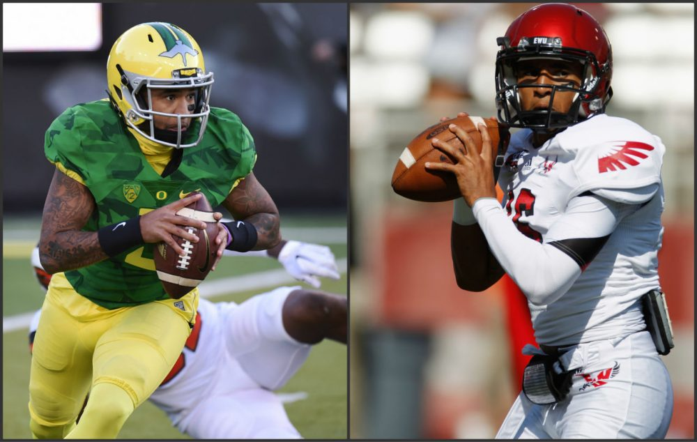 Quarterback Vernon Adams played his first three seasons at Eastern Washington. Then he graduated early and transferred to Oregon. (Getty Images)