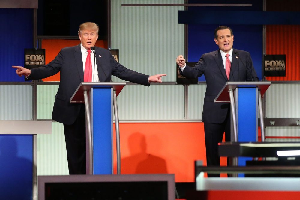Republican presidential candidates Donald Trump and Sen. Ted Cruz (R-TX) participate in the Fox Business Network Republican presidential debate at the North Charleston Coliseum and Performing Arts Center on January 14, 2016 in North Charleston, South Carolina. The sixth Republican debate is held in two parts, one main debate for the top seven candidates, and another for three other candidates lower in the current polls. (Scott Olson/Getty Images)