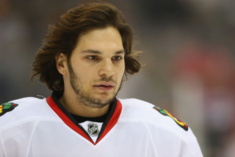 Daniel Carcillo played in the NHL for nine seasons and helped the Chicago Blackhawks win the 2015 Stanley Cup. Carcillo says he retired last fall because of the death of his friend and former teammate Steve Montador. (Ronald Martinez/Getty Images)