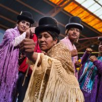 Angela La Folklorista (right) is one of the cholitas luchadoras: a group of indigenous Bolivian women wrestlers. (Courtesy Trevin Spencer)